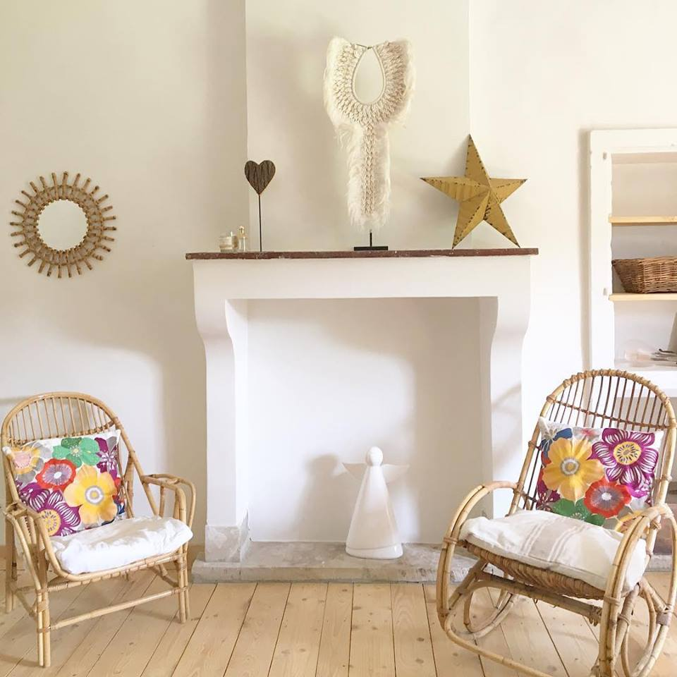 I loved styling this bedroom fireplace with a mix of antiques, ethnic and modern design.